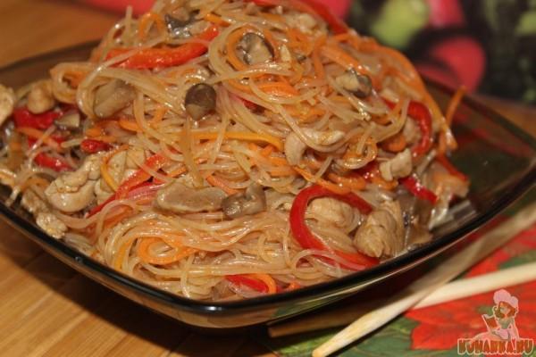 фунчоза с мясом и овощами рецепт с фото